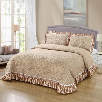2020新款北欧风针织棉床盖三件套 单枕套/对 华美典韵(驼)