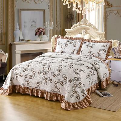 2020新款北欧风针织棉床盖三件套 230x245cm三件套 锦绣风姿