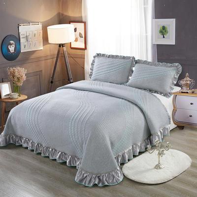 2020新款北欧风针织棉床盖三件套 230x245cm三件套 曼妙花韵