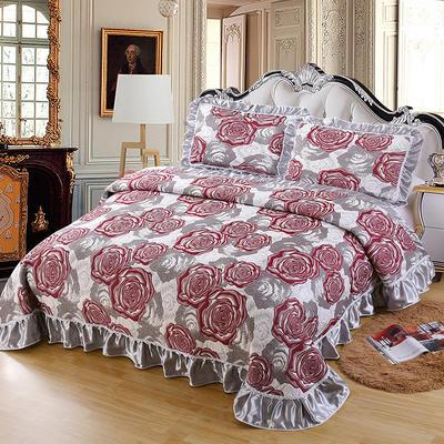 2020新款北欧风针织棉床盖三件套 230x245cm三件套 玫瑰芬芳