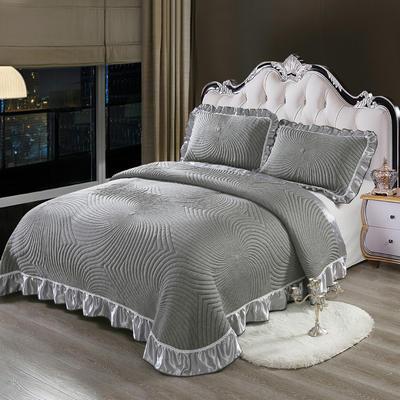 2020新款北欧风针织棉床盖三件套 230x245cm三件套 欧曼风情