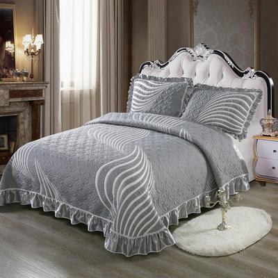 2020新款北欧风针织棉床盖三件套 230x245cm三件套 曲边格调