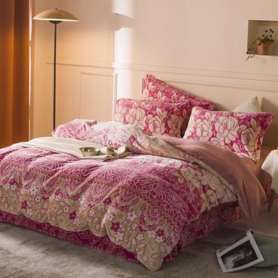 2020新款雕花绒四件套 1.8m床单款四件套 花儿朵朵-粉