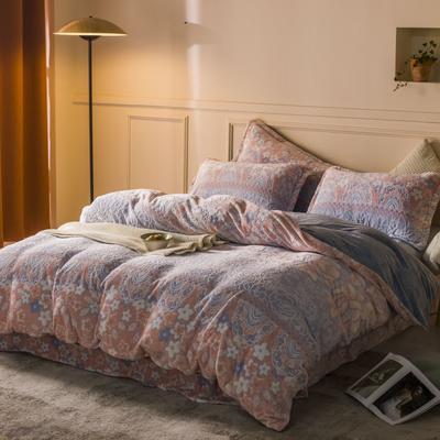 2020新款雕花绒四件套 1.5m床单款四件套 花儿朵朵-蓝