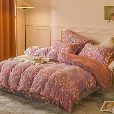 2020新款雕花绒四件套 1.5m床单款四件套 花艺人生-粉紫
