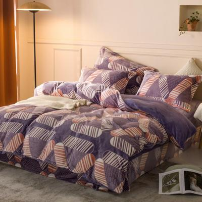 2020新款雕花绒四件套 1.5m床单款四件套 简约生活-紫
