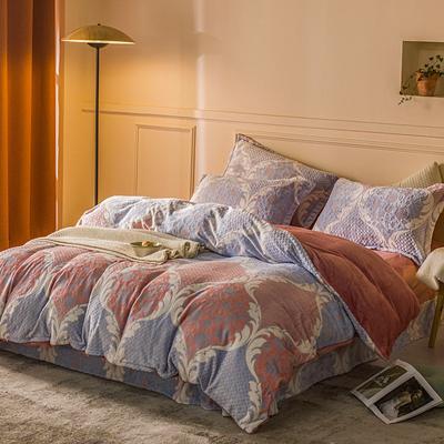 2020新款雕花绒四件套 1.5m床单款四件套 密语-粉