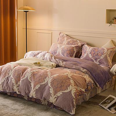 2020新款雕花绒四件套 1.5m床单款四件套 密语-紫