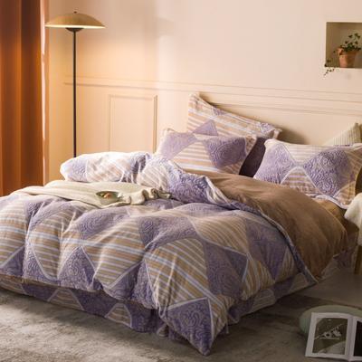 2020新款雕花绒四件套 1.5m床单款四件套 欧美风情-紫咖