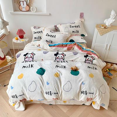 2020新款法莱绒牛奶绒四件套 1.5m床单款四件套 奶味贝贝-彩蛋