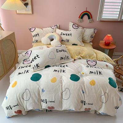 2020新款法莱绒牛奶绒四件套 1.8m床单款四件套 奶味贝贝-黄小格