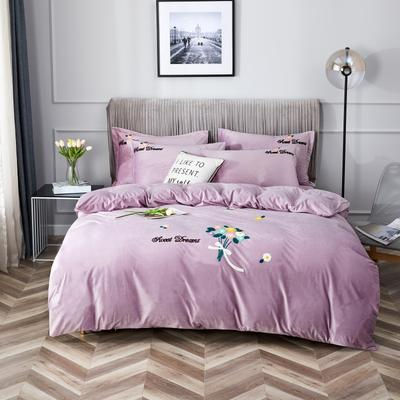 2020新款亲肤绒毛巾绣四件套 1.5m床单款四件套 红尘画卷-粉紫