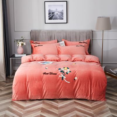 2020新款亲肤绒毛巾绣四件套 1.5m床单款四件套 红尘画卷-桔红