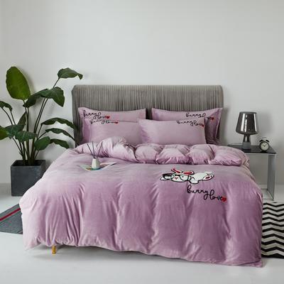 2020新款亲肤绒毛巾绣四件套 1.5m床单款四件套 萌萌兔-粉紫