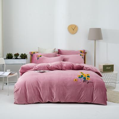 2020新款亲肤绒毛巾绣四件套 1.5m床单款四件套 向阳花-粉红
