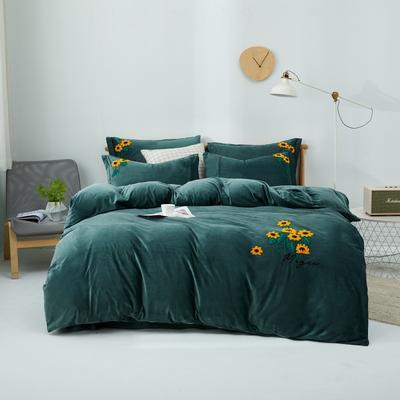 2020新款亲肤绒毛巾绣四件套 1.5m床单款四件套 向阳花-墨绿