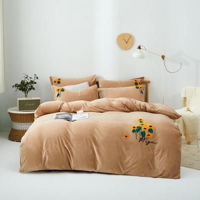 2020新款亲肤绒毛巾绣四件套 1.5m床单款四件套 向阳花-驼色