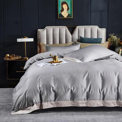 2021新款40全棉轻奢绣花四件套 1.8m(6英尺)床 爱与被爱-高级灰
