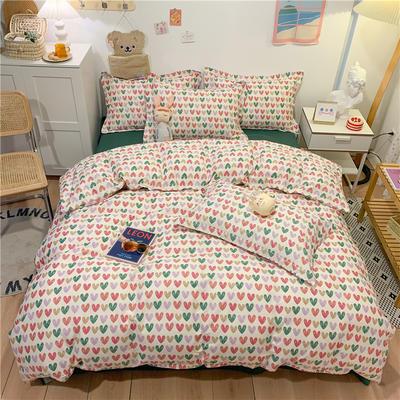 2021新款全棉印花四件套 1.8m(6英尺)床 小心心