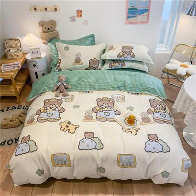 2021新款全棉印花四件套 1.8m(6英尺)床 小熊抱抱