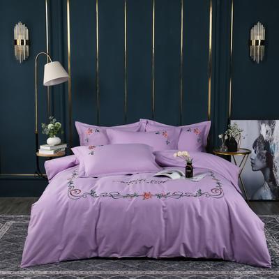 2021年新款精梳全棉多彩绣花四件套高密全棉四件套 加大款四件套 花香袭人-浪漫紫