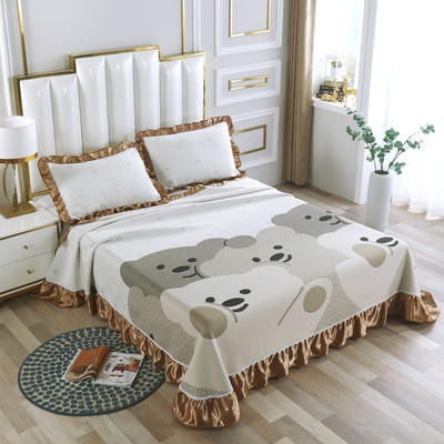 2020新款北欧风针织棉床盖三件套 230x245cm三件套 特洛熊