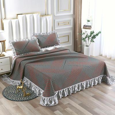 2020新款北欧风针织棉床盖三件套 230x245cm三件套 欧德堡-红