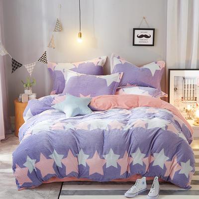 2018新款-时尚条条绒四件套 1.8m(6英尺)床 星尚光彩(紫)