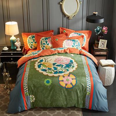 2019新款 -13372年40匹马棉大版花四件套第一批 床单款1.5m(5英尺)床 暗香