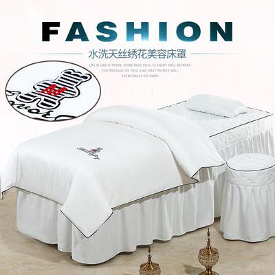 2019新款60S天丝刺绣款美容院按摩床罩 圆头四件套 (70*185) 刺绣款-白