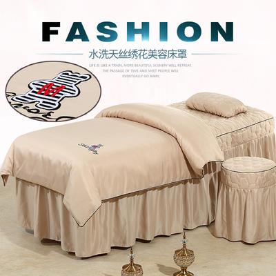 2019新款60S天丝刺绣款美容院按摩床罩 圆头四件套 (70*185) 刺绣款-驼