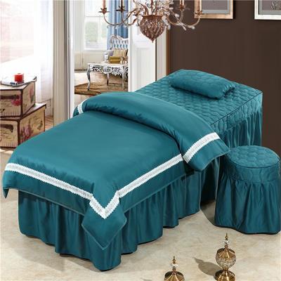 2019新款60S天丝蕾丝花边款美容院按摩床罩 单被套(110*170尺寸) 花边款-墨绿