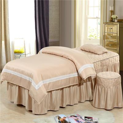 2019新款60S天丝蕾丝花边款美容院按摩床罩 单被套(110*170尺寸) 花边款-驼