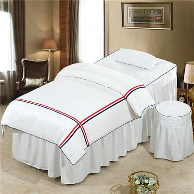 2019新款60S天丝时尚英伦款美容院按摩床罩 圆头四件套 (70*185) 英伦款-白