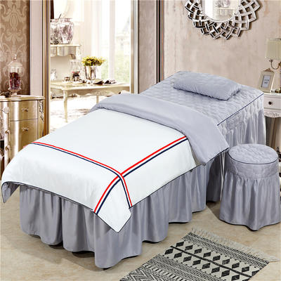 2019新款60S天丝时尚英伦款美容院按摩床罩 圆头四件套 (70*185) 英伦款-白+灰