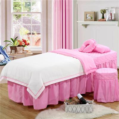 2019新款纯色-压线款美容院按摩床罩 圆头四件套 (70*185) 白+粉