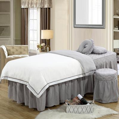 2019新款纯色-压线款美容院按摩床罩 圆头四件套 (70*185) 白+灰