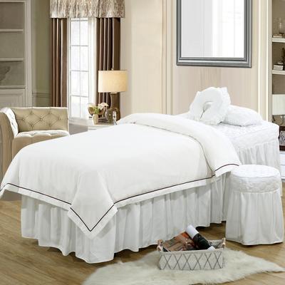 2019新款纯色-压线款美容院按摩床罩 圆头四件套 (70*185) 白色