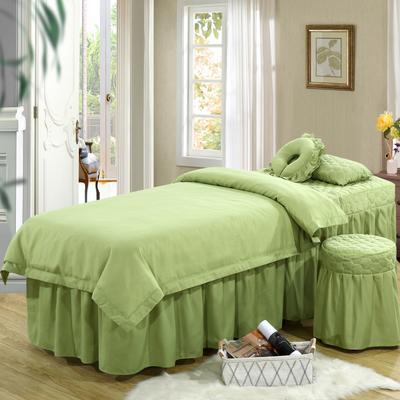 2019新款纯色-压线款美容院按摩床罩 圆头四件套 (70*185) 豆绿