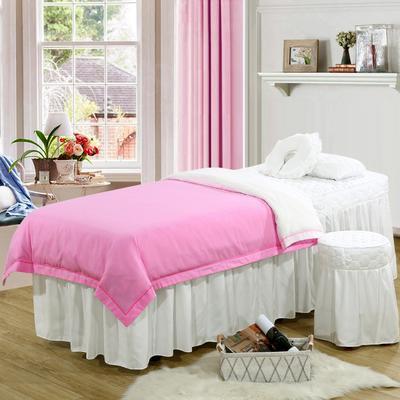 2019新款纯色-压线款美容院按摩床罩 圆头四件套 (70*185) 粉+白