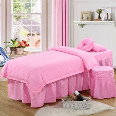 2019新款纯色-压线款美容院按摩床罩 圆头四件套 (70*185) 粉色