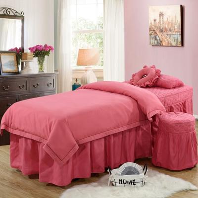 2019新款纯色-压线款美容院按摩床罩 圆头四件套 (70*185) 红豆沙