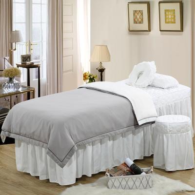 2019新款纯色-压线款美容院按摩床罩 圆头四件套 (70*185) 灰+白