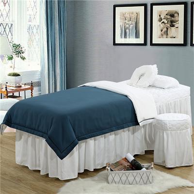 2019新款纯色-压线款美容院按摩床罩 圆头四件套 (70*185) 兰灰+白