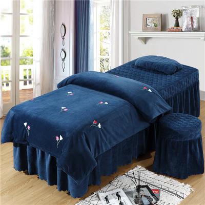 2019新款刺绣-水晶绒 宝宝绒美容院按摩床罩 被套(120*180尺寸) 爱情草-深蓝