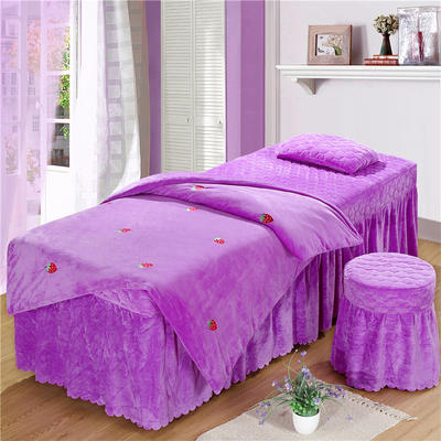 2019新款刺绣-水晶绒 宝宝绒美容院按摩床罩 被套(120*180尺寸) 草莓-浅紫