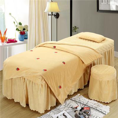 2019新款刺绣-水晶绒 宝宝绒美容院按摩床罩 被套(120*180尺寸) 草莓-驼