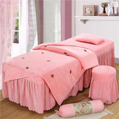 2019新款刺绣-水晶绒 宝宝绒美容院按摩床罩 圆头四件套 (70*185) 草莓-玉