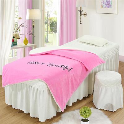2019新款刺绣-水晶绒 宝宝绒美容院按摩床罩 被套(120*180尺寸) 粉+白