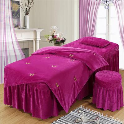 2019新款刺绣-水晶绒 宝宝绒美容院按摩床罩 被套(120*180尺寸) 蝴蝶-红雪青